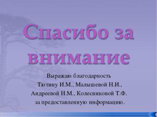 Выражаю благодарность Тютину И.М., Малышевой Н.И., Андреевой Н.М., Колесников
