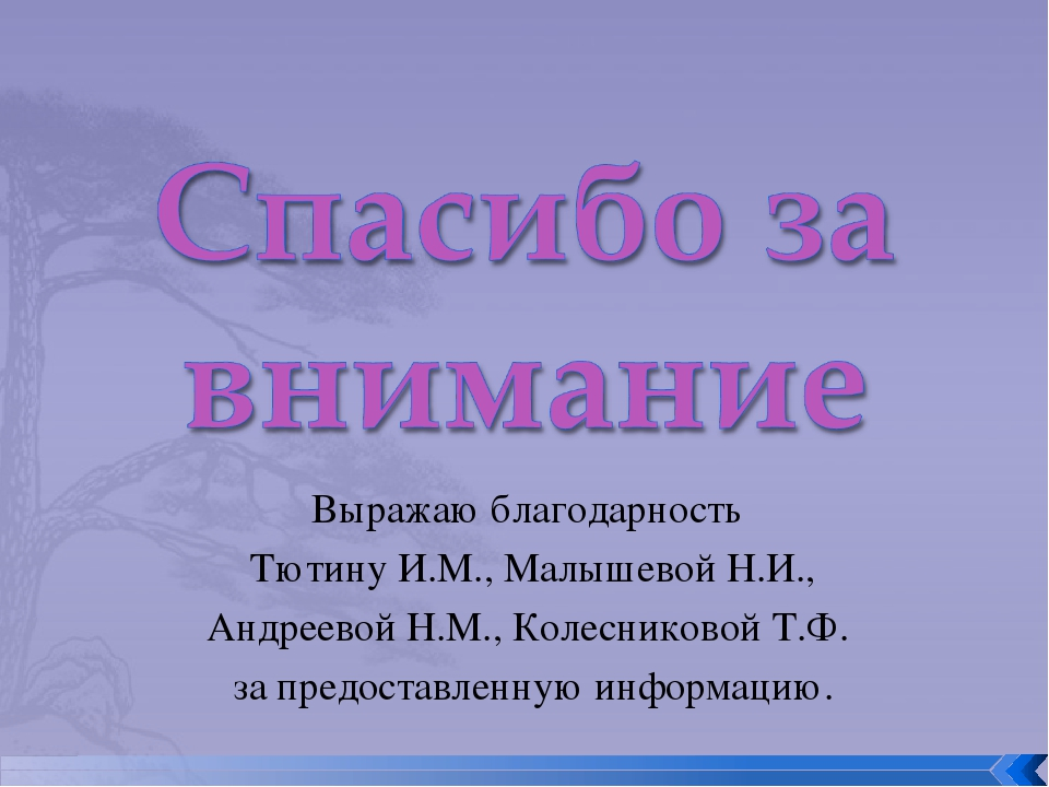 Выражаю благодарность Тютину И.М., Малышевой Н.И., Андреевой Н.М., Колесников...