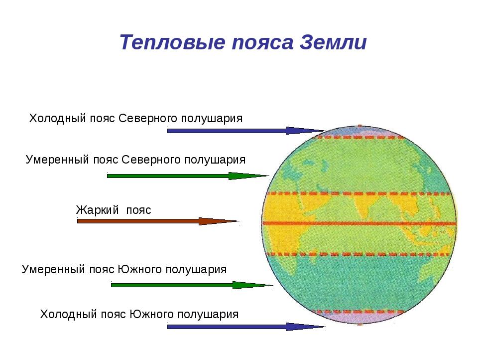 Тепловые пояса Земли Холодный пояс Северного полушария Холодный пояс Южного п...