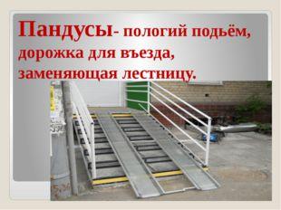 Пандусы- пологий подьём, дорожка для въезда, заменяющая лестницу.