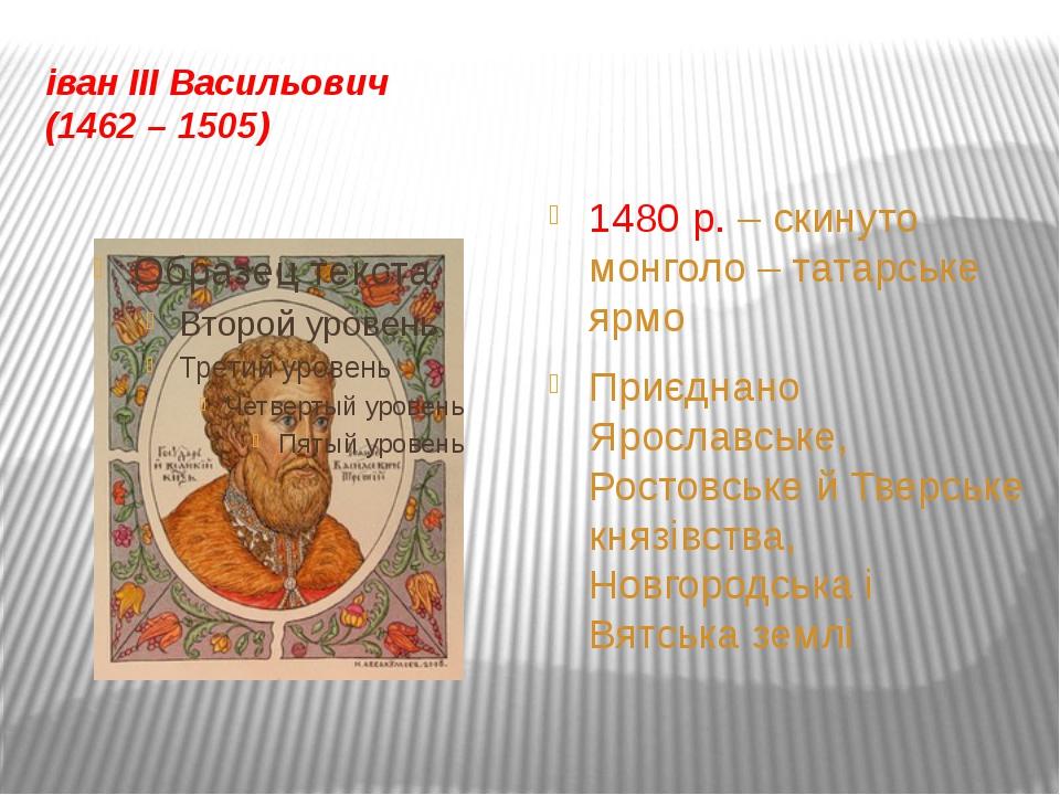 Василій III Іванович (1505 – 1533) Приєднано Смоленську, Рязанську і Псковськ...