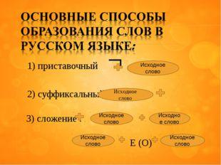 1) приставочный ¬ 2) суффиксальный 3) сложение : E (O) Исходное слово Исходно