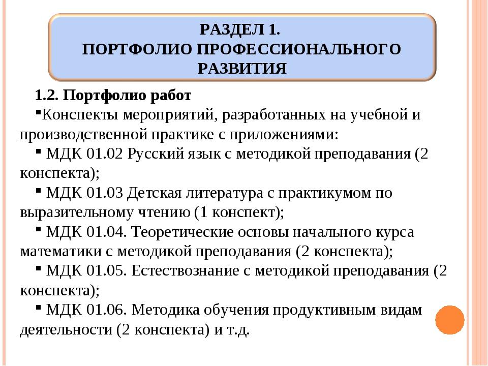 1.2. Портфолио работ Конспекты мероприятий, разработанных на учебной и произв...