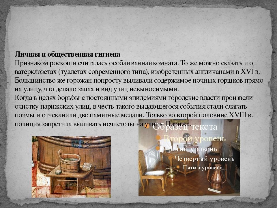 Личная и общественная гигиена Признаком роскоши считалась особая ванная комна...