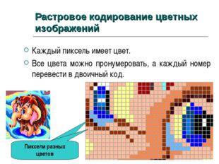 Растровое кодирование цветных изображений Каждый пиксель имеет цвет. Все цвет