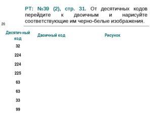 РТ: №39 (2), стр. 31. От десятичных кодов перейдите к двоичным и нарисуйте со