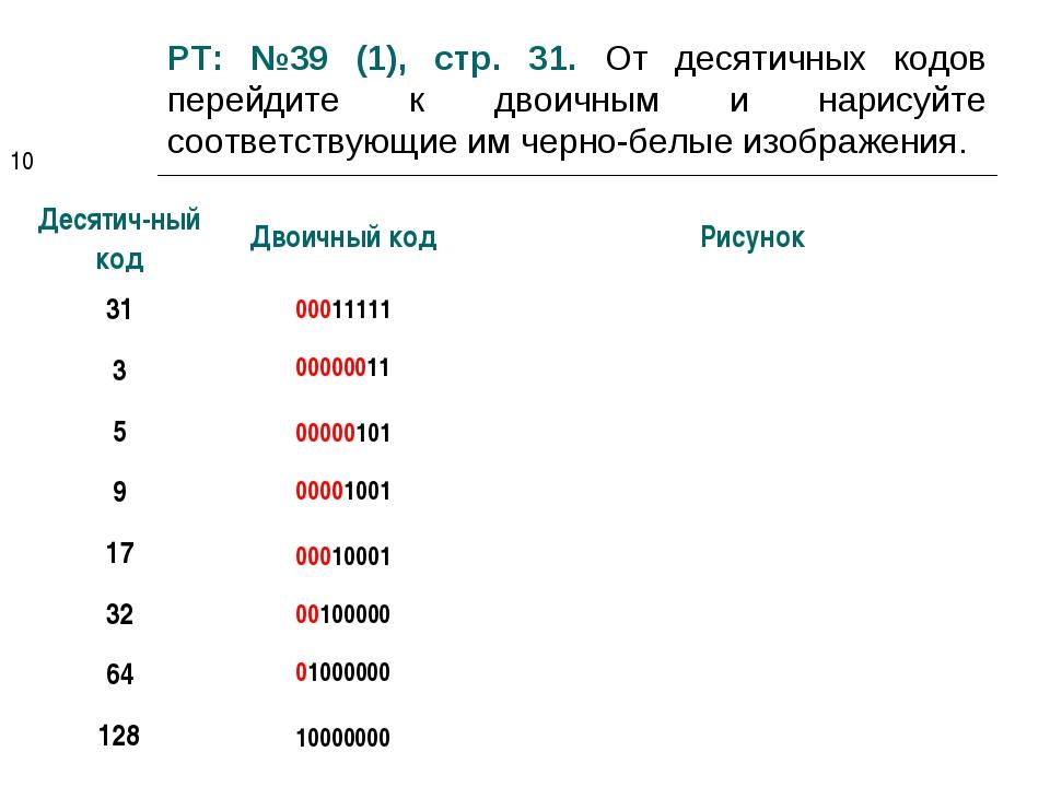 РТ: №39 (1), стр. 31. От десятичных кодов перейдите к двоичным и нарисуйте со...