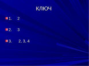 КЛЮЧ 1. 2 2. 3 3. 2, 3, 4
