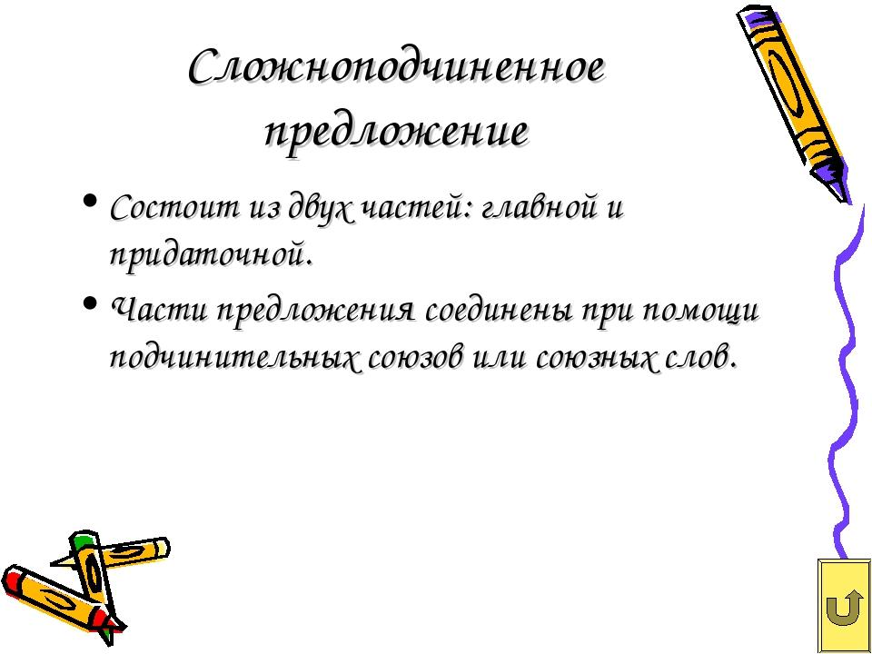 Сложноподчиненное предложение Состоит из двух частей: главной и придаточной....