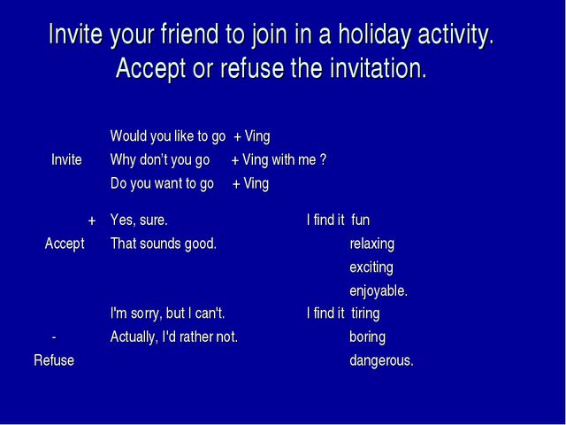Invite your friend to join in a holiday activity. Accept or refuse the invita...