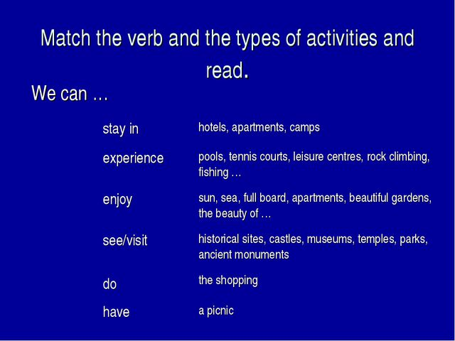 Match the verb and the types of activities and read. We can … stay inhotels,...
