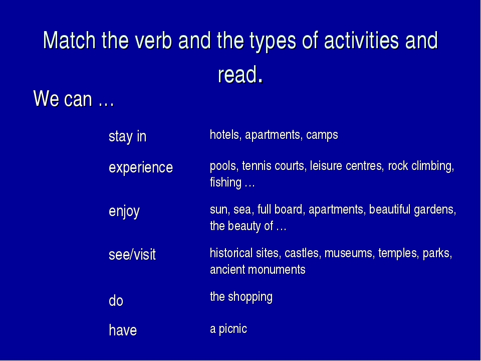 Match the verb and the types of activities and read. We can … stay in	hotels,...
