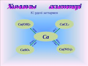 Күрделі заттармен Са Са(NО3)2 СаCL2 Са(ОН)2 CaSO4 HOH HCL HNO3 H2SO4 сұйық сұ