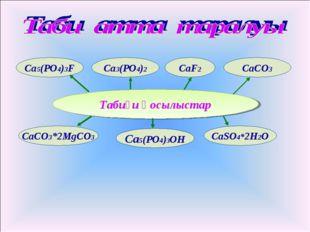 Табиғи қосылыстар CaSO4*2H2O CaCO3 CaCO3*2MgCO3 Ca3(PO4)2 Ca5(PO4)3OH Ca5(PO