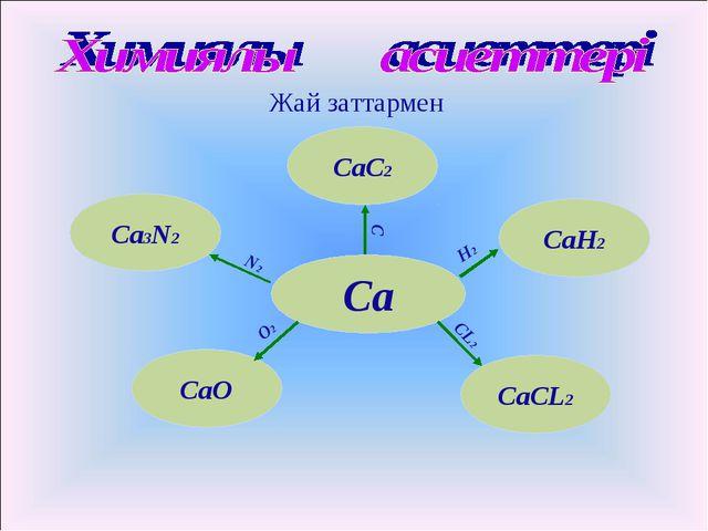 Жай заттармен Са СаН2 СаСL2 CaO СаС2 Ca3N2 O2 N2 С Н2 СL2