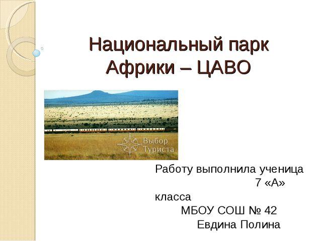 Работу выполнила ученица 7 «А» класса МБОУ СОШ № 42 Евдина Полина Национальн...