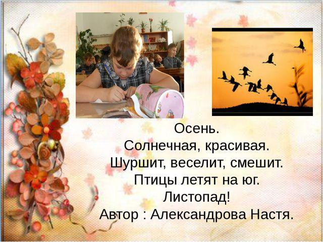 Осень. Солнечная, красивая. Шуршит, веселит, смешит. Птицы летят на юг. Лист...