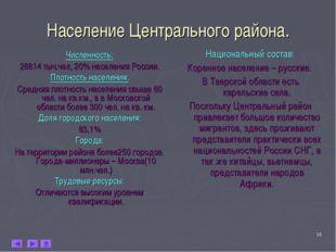 * Население Центрального района. Численность: 28814 тыч.чел, 20% населения Ро