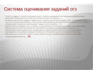 Система оценивания заданий огэ Ответ на задание 1 (сжатое изложение) части 1