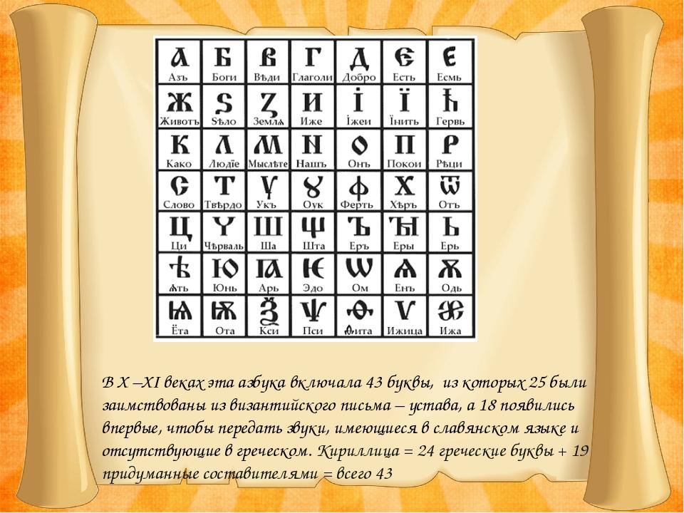 В X –XI веках эта азбука включала 43 буквы, из которых 25 были заимствованы и...