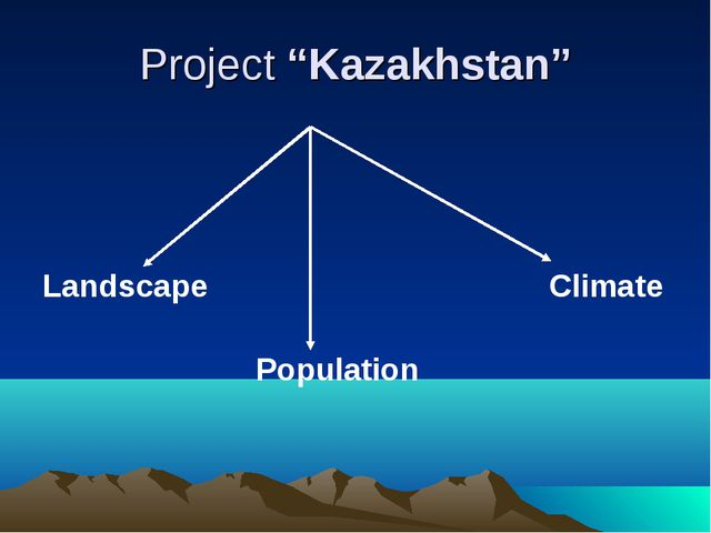 """Project """"Kazakhstan"""" Landscape Climate Population"""