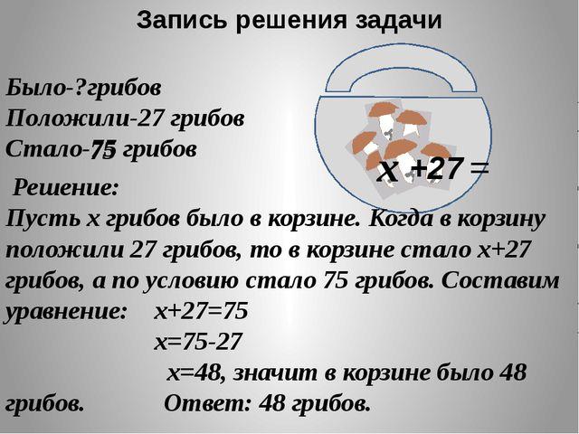 Запись решения задачи Было-?грибов Положили-27 грибов Стало-75 грибов х +27...