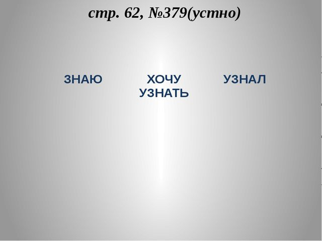 стр. 62, №379(устно) ЗНАЮ ХОЧУ УЗНАТЬ УЗНАЛ
