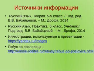 Источники информации Русский язык. Теория. 5-9 класс. / Под. ред. В.В. Бабайц
