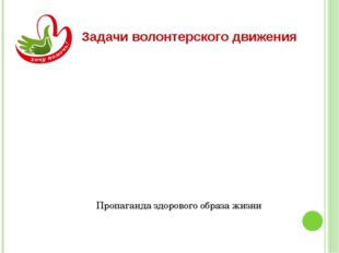 Задачи волонтерского движения Поддержка социальных инициатив Пропаганда здоро