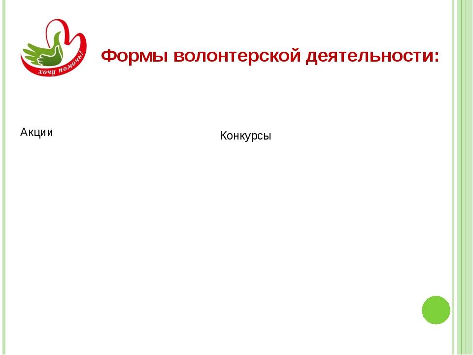 Формы волонтерской деятельности:
