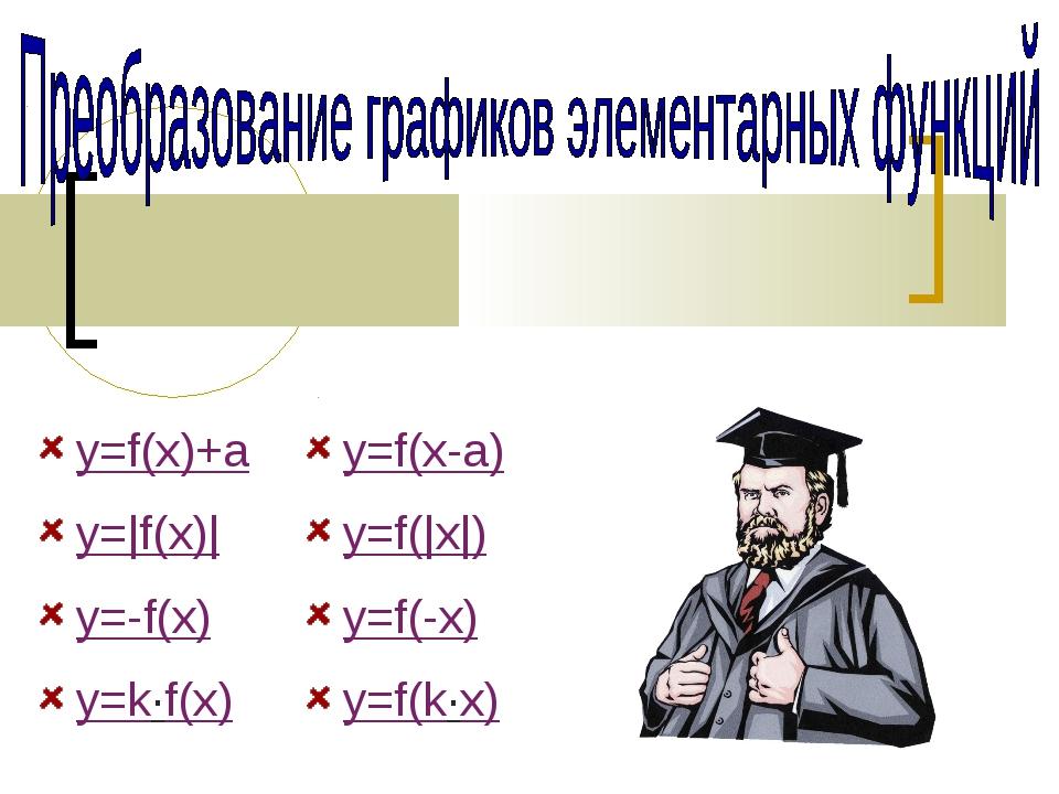 y=f(x)+a y=|f(x)| y=f(|x|) y=-f(x) y=f(-x) y=f(k·x) y=f(x-a) y=k·f(x)
