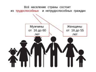 Всё население страны состоит из трудоспособных и нетрудоспособных граждан Жен