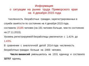 Информация о ситуации на рынке труда Приморского края на 4 декабря 2015 года
