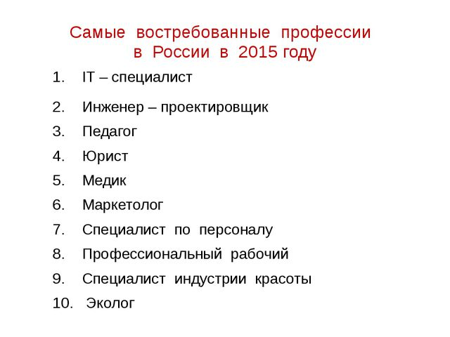 Самые востребованные профессии в России в 2015 году 1.IT–специалист 2.Инженер...