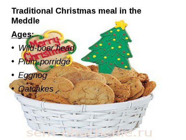 Traditional Christmas meal in the Meddle Ages: Wild-boar head Plum-porridge E...