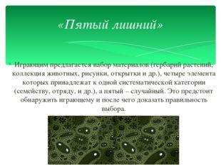 Играющим предлагается набор материалов (гербарий растений, коллекция животных