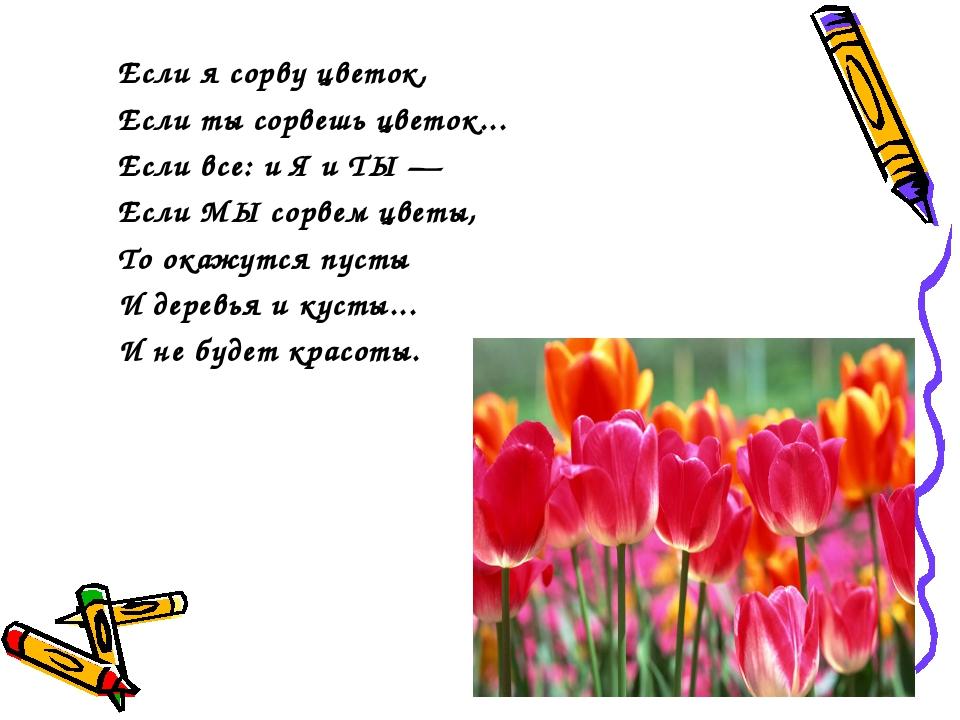 Если я сорву цветок, Если ты сорвешь цветок... Если все: и Я и ТЫ — Если МЫ...
