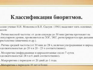 Классификация биоритмов. Русские ученые Н.И. Моисеева и В.Н. Сысуев (1961) вы