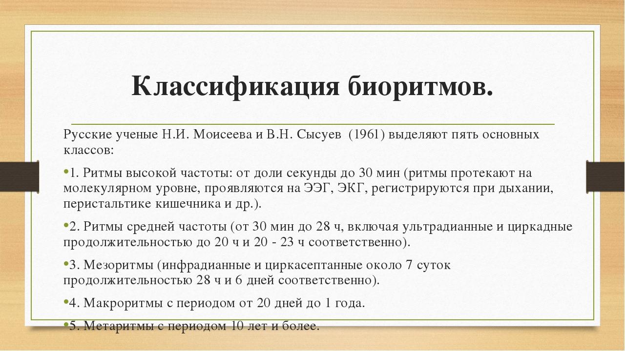 Классификация биоритмов. Русские ученые Н.И. Моисеева и В.Н. Сысуев (1961) вы...