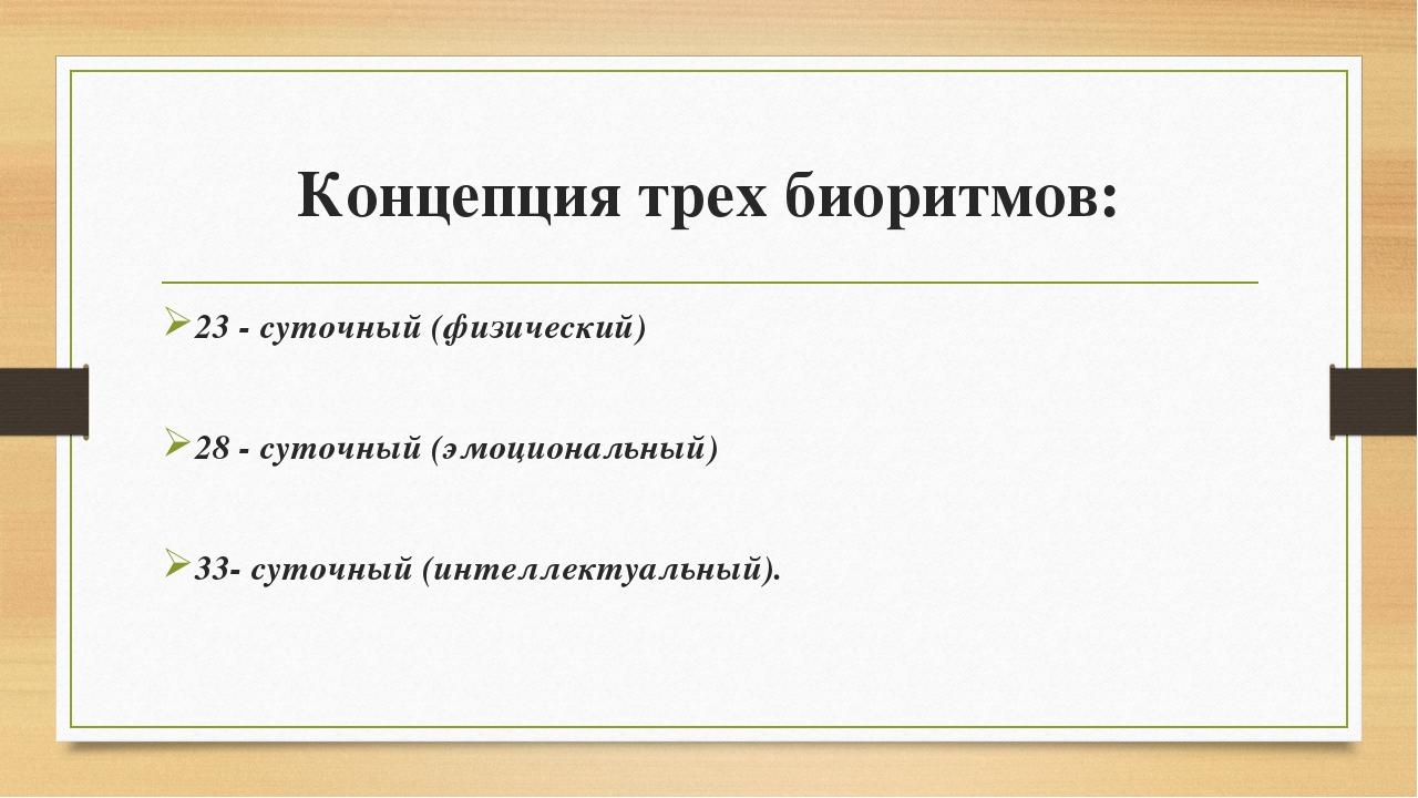 Концепция трех биоритмов: 23 - суточный (физический) 28 - суточный (эмоционал...