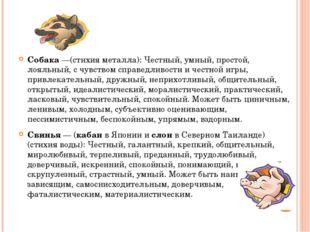 Собака —(стихия металла): Честный, умный, простой, лояльный, с чувством спра
