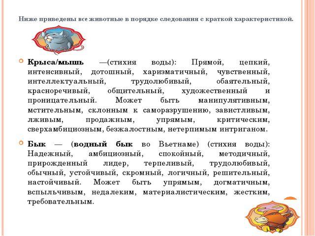 Ниже приведены все животные в порядке следования с краткой характеристикой. К...