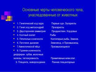Основные черты человеческого тела, унаследованные от животных 1. Генетический