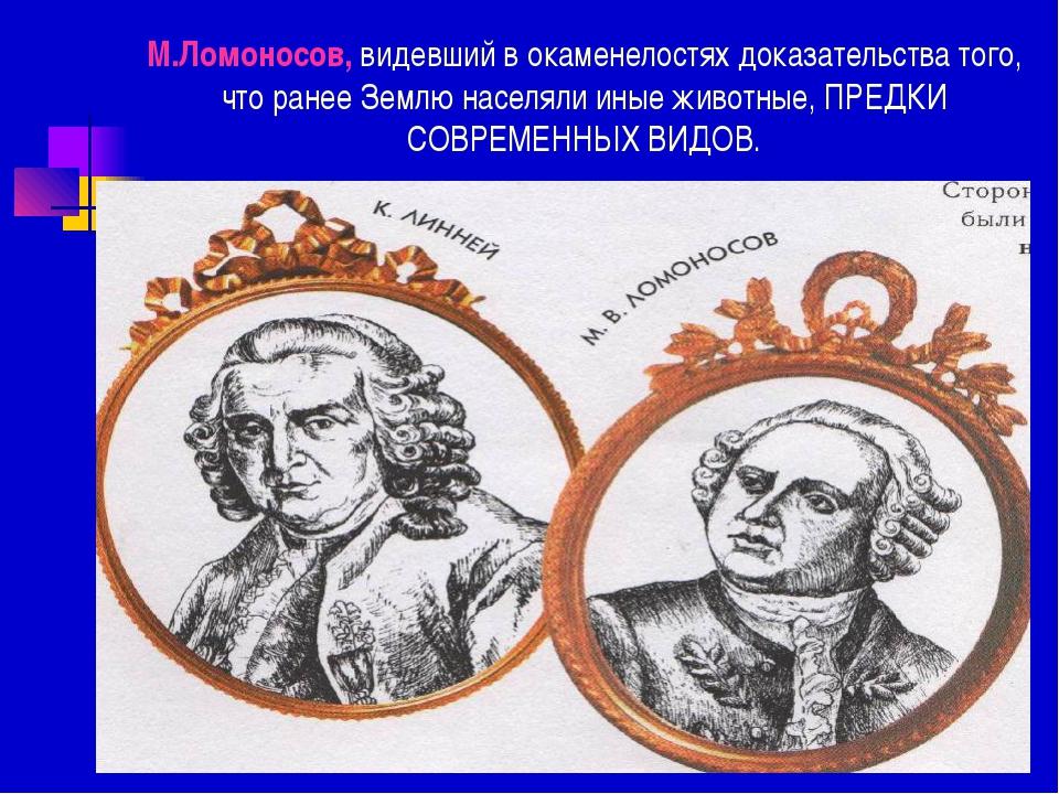 М.Ломоносов, видевший в окаменелостях доказательства того, что ранее Землю на...