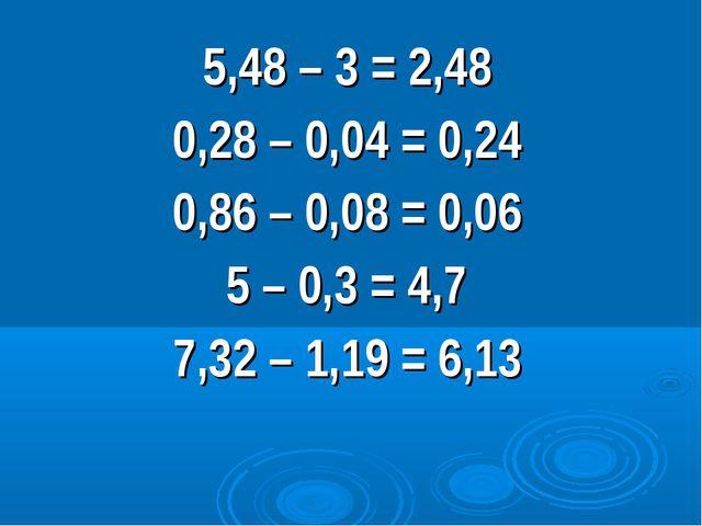 5,48 – 3 = 2,48 0,28 – 0,04 = 0,24 0,86 – 0,08 = 0,06 5 – 0,3 = 4,7 7,32 – 1,...