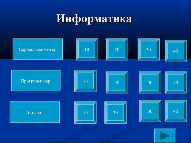Информатика Дербес компьютер Программалар. Ақпарат 10 10 10 20 20 20 30 30 30...