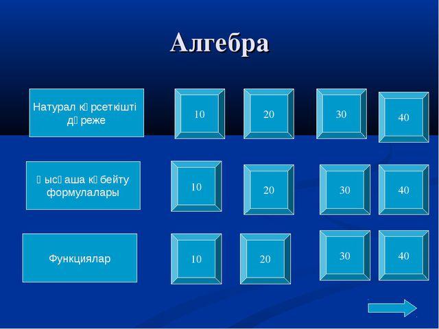 Алгебра Натурал көрсеткішті дәреже Қысқаша көбейту формулалары Функциялар 10...