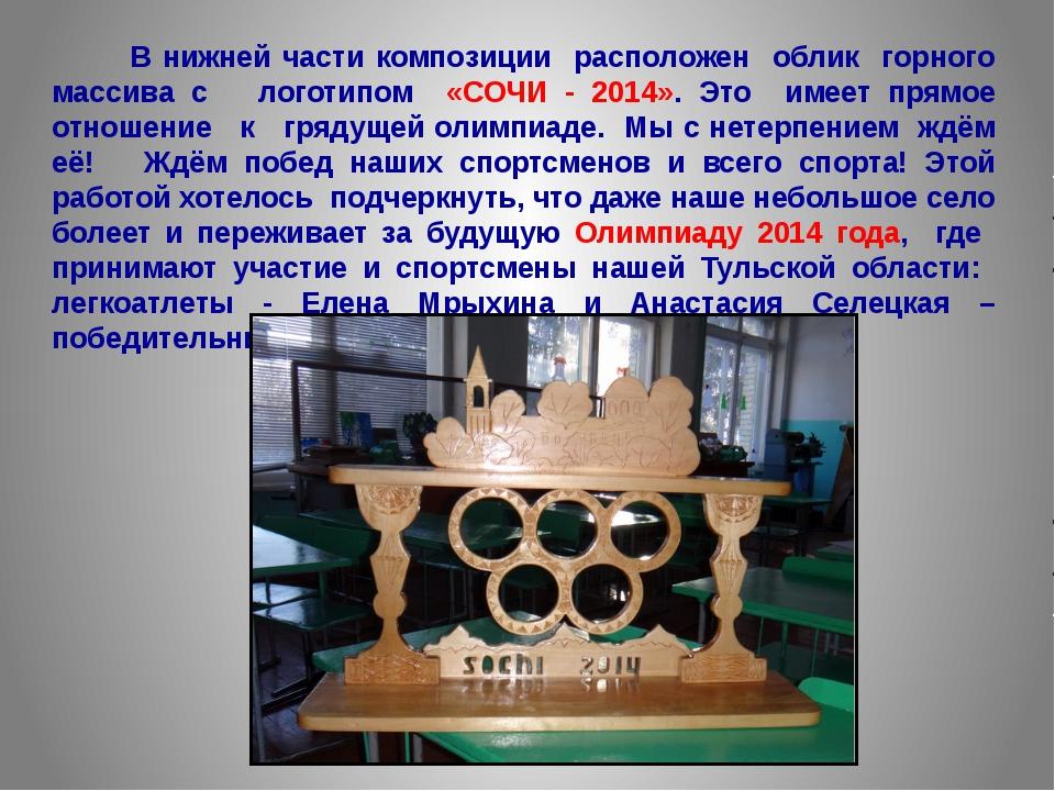 В нижней части композиции расположен облик горного массива с логотипом «СОЧИ...