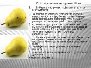 12. Использование инструмента Штамп: 1.Выберите инструмент «Штамп» в палитр