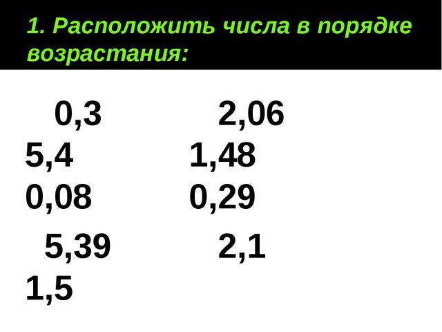 1. Расположить числа в порядке возрастания: 0,3 2,06 5,4 1,48 0,08 0,29 5,39...